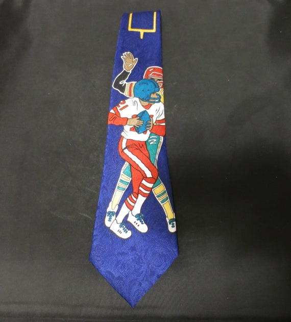 Enigma Necktie Football Vintage 1970s Hand Made - image 2