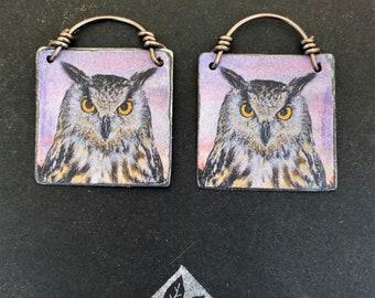 Great Horned Owl, Owl Earrings, Owl Totem Earrings