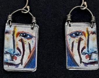 Original art to wear, portrait art earrings, Painted face, talisman jewelry,