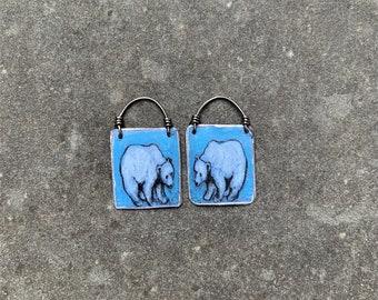 Bear Earrings, totem animal, bear spirit, bear clan,up-cycled earrings, recycled jewelry