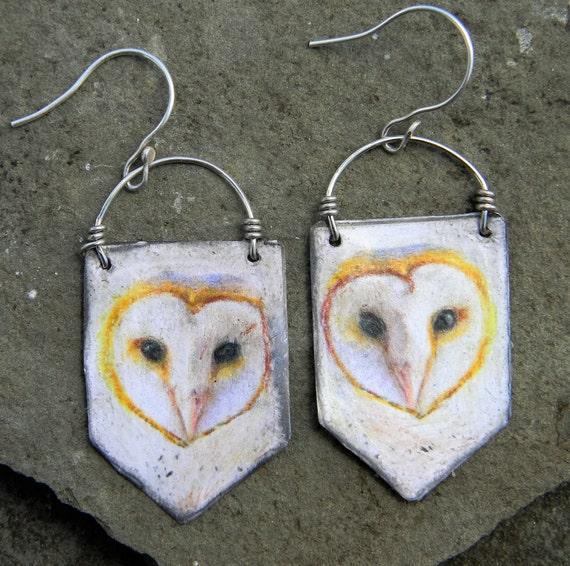 Gorgeous Barn Owl Cross Stitch Earrings