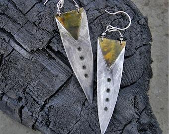 Unique Earring Metal Gold Feather Like Arrow Earring Silver Gold Steel Modern Design Earring