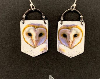 Owl Earring Barn Owl Earring Unique Painted Bird Jewelry Upcycled Metal
