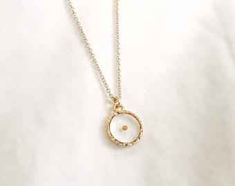 Custom made mustard seed necklace - hammered edge pendant