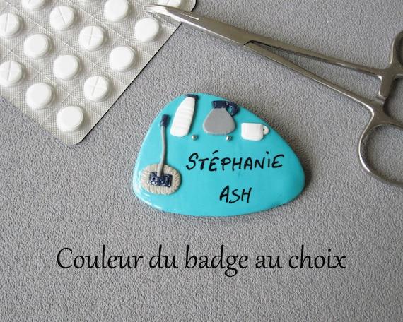 Badge ash color of badge of choice badge name ASH badge ASH Fimo gift badge customizable hospital service agent