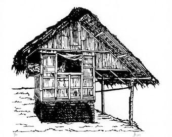 Bahay Kubo / Nipa Hut Screen Print