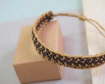 Macrame bracelet dark brown and gold metallic thread, Gift for her, Gift for him, Bracelet unisex, Boho jewelry, Jewelry, Crochet bracelet.