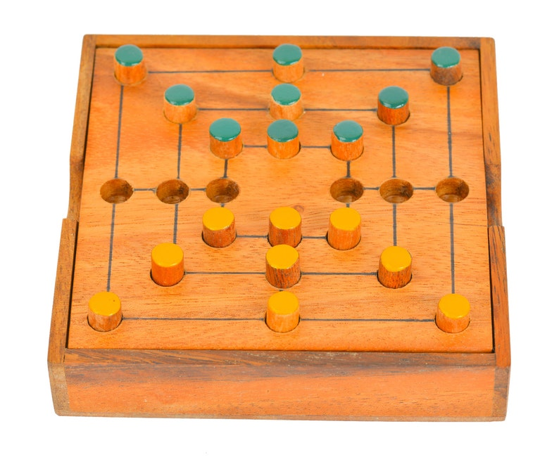 Wooden Toy Nine Mens Morris Strategy Game The Organic Natural Puzzle Game Play For Baby And Kids