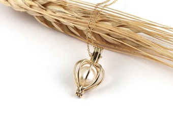 Gold Cage with Pearl, Perfect Gift Idea for Fiancee and Wife, Mother Gift, Bride Special Wedding Gift, Amulet, Pearl Gold Charm For Woman