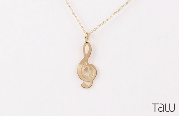 14k Yellow Gold Open back Polished Open-backed Treble Clef Pendant