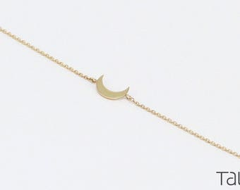 Gold Bracelet, Gold Moon Bracelet, Dainty Bracelet, Gift For Her, Moon Bracelet, Crescent Bracelet, Everyday Jewelry,Romantic Gift For Her