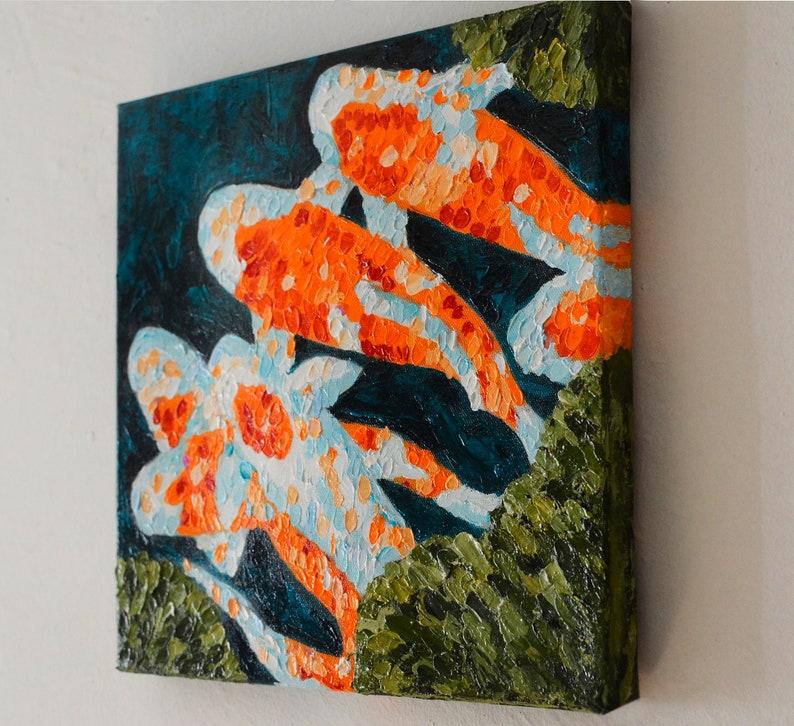 Koi fish Art original Original oil painting Impressionist painting original Koi fish painting on canvas