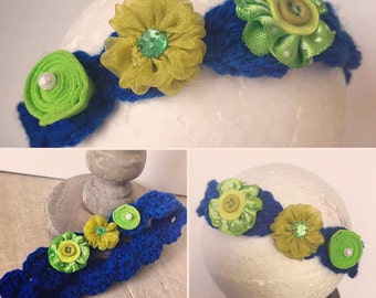 Blue and lime baby flower headband