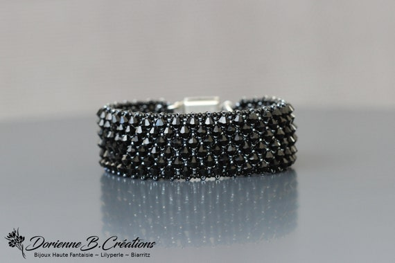 Bracelet manchette pour Femme en Cristal Swarovski noir. | Etsy