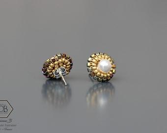 Clous d'oreille blanc et or pour Femme en cristal Swarovski et rocailles japonaises
