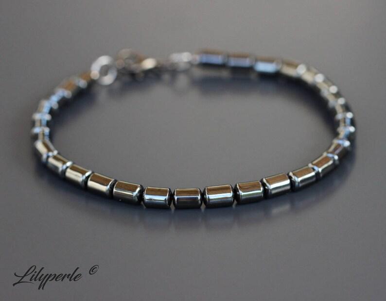 7aff6c6f71804 Bracelet femme en perles d'Hématite forme gourmette avec   Etsy