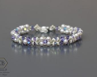 Bracelet Femme en cristal Swarovski blanc et violet