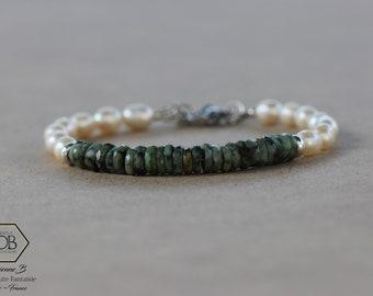 Bracelet turquoise africaine et perles d'eau douce pour Femme