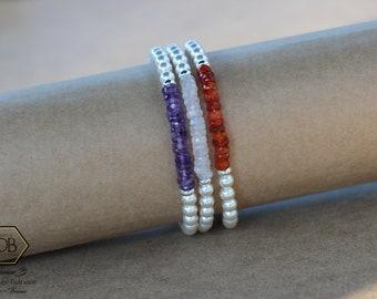 Bracelet minimaliste Heishi gemme et cristal Swarovski. Fermoir inox