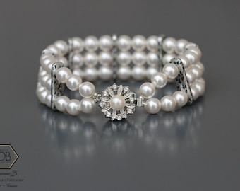 Bracelet manchette blanc pour Femme.Perles rondes cristal Swarovski