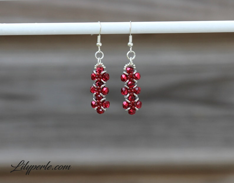 Ruby Red earrings components women long Boho faceted beads rondelle beads Japanese Miyuki hooks silver plated