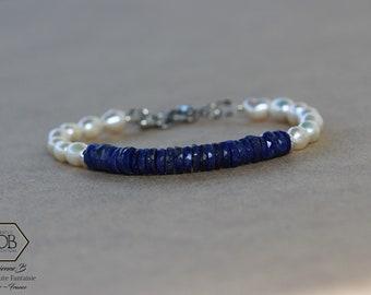 Bracelet Lapis lazuli et perles d'eau douce pour Femme