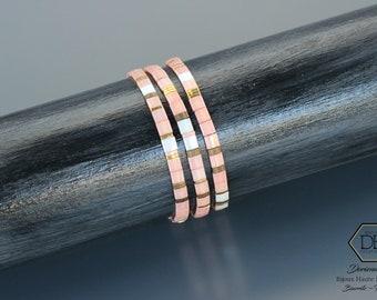 Bracelets minimalistes rose thé en perles Miyuki Tila. Fermoir gold filled