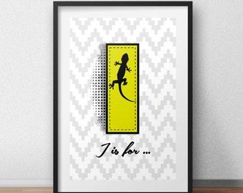 I initial art print I monogram poster I initial print lizard poster lizard art print yellow art print custom initial poster