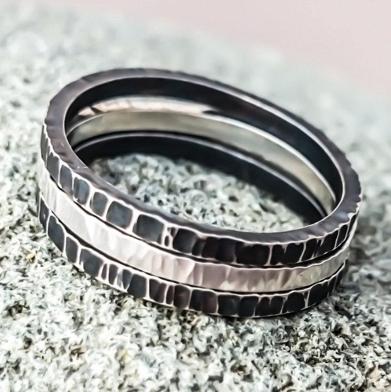 Square Wire Sterling Silver Stacking Rings Minimalist image 0