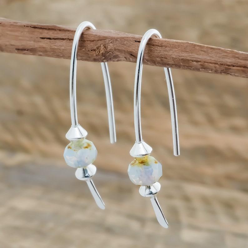 Earrings Sterling Silver. Czech Glass. Modern Boho Minimalist. image 0