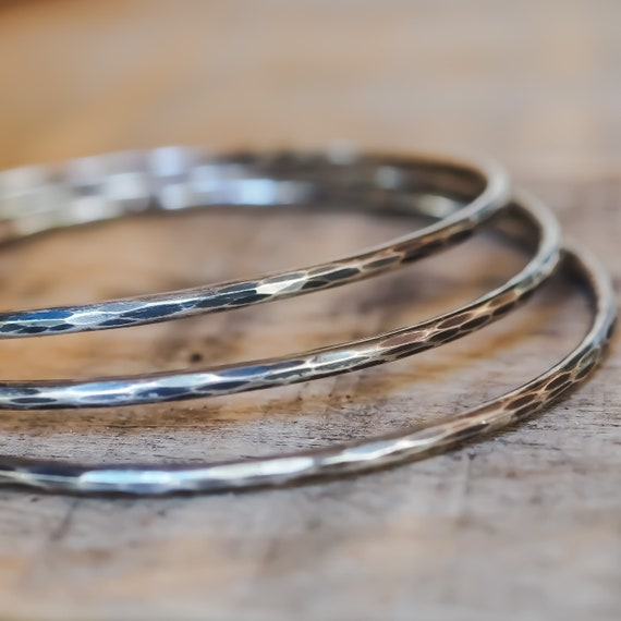 Solid Sterling Silver Bangles Set of Three With Flower Charm  Bangle Bracelet  Bangle Bracelet   Stacking Bracelet  Boho Chic