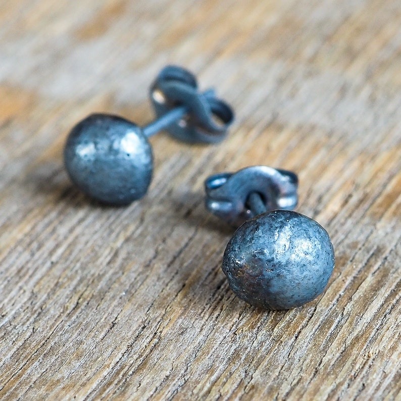 Sterling Silver Ball Stud Earrings. Oxidised Sterling Silver image 0