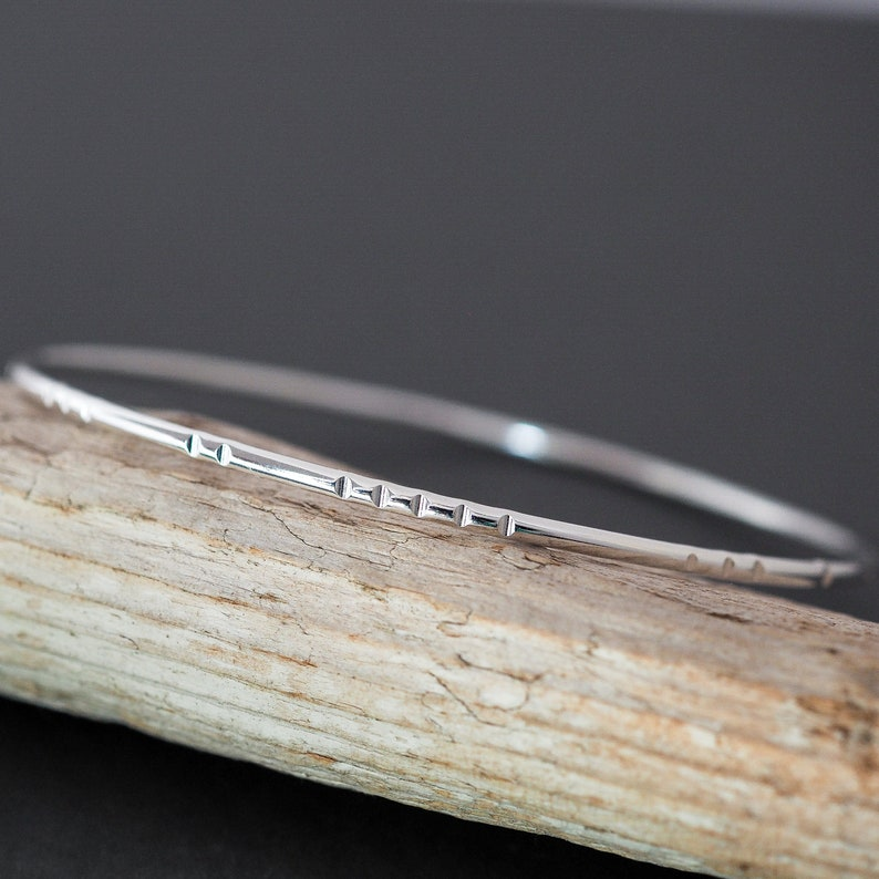 Textured Stacking Bangle. Handcrafted in Sterling Silver by image 0