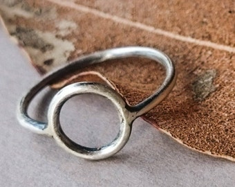 Minimalist Circle Stacking Ring in Sterling Silver by Wild Forest Studio