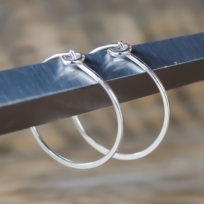 Small 20mm Round Hoop Earrings. Sterling Silver Polished image 0