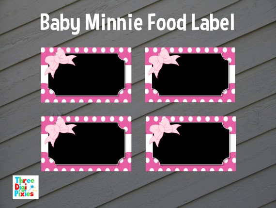 Baby Minnie Mouse Food Label Buffet Card Tent