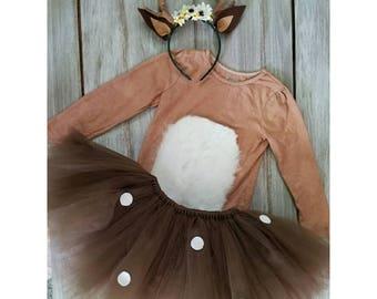 Whimsical kids Deer costume with antler headband
