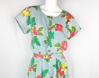 05dc64f8208 80s Floral Chambray Romper