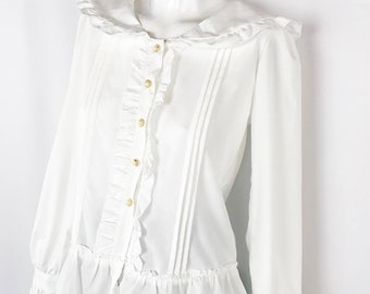 e0c6c5c61561 Vintage Ruffle Sailor Blouse || White Button Up Shirt with Sailor Collar  and Ruffle Details || Small