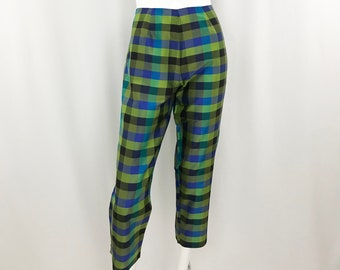 5ca166980388d4 Vintage Plaid Silk Cigarette Pants || 90s Green Silk Cropped Trousers ||  28