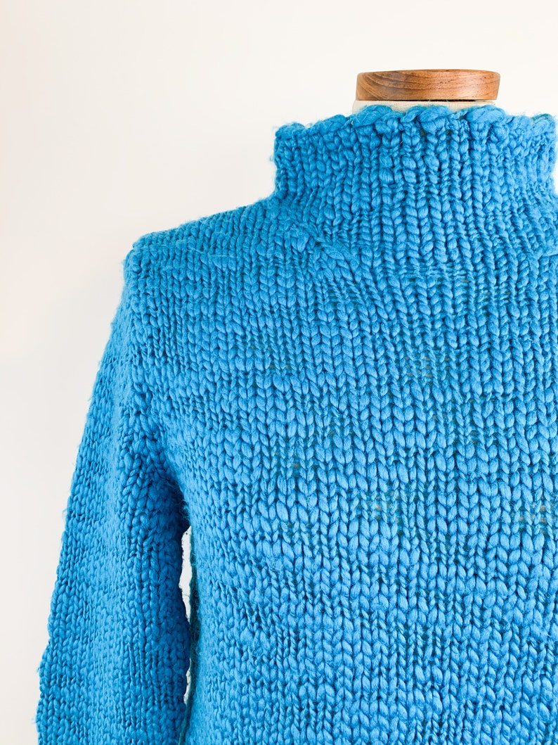 Soft Vintage Knit Pullover Medium 90s Aqua Cloud Sweater