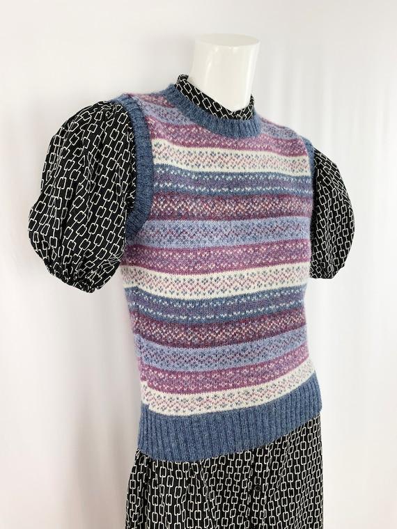 80s Vintage Sweater Vest || Shetland Wool Pattern… - image 3