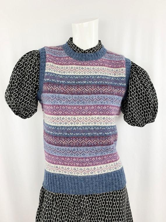 80s Vintage Sweater Vest || Shetland Wool Pattern… - image 1