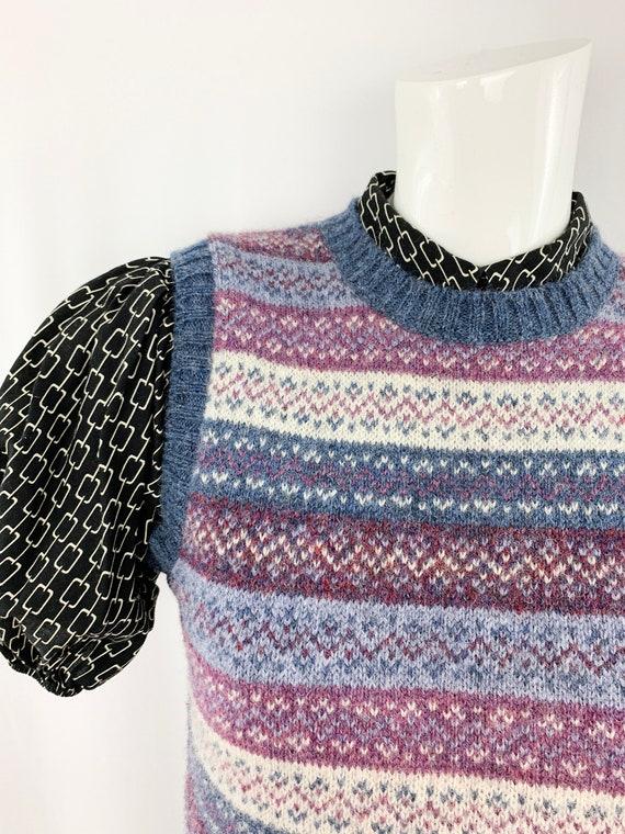 80s Vintage Sweater Vest || Shetland Wool Pattern… - image 4