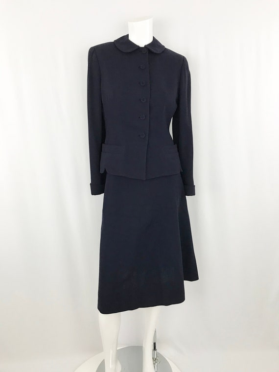 Vintage 1940's Navy Wool Suit || Blazer & Skirt Se