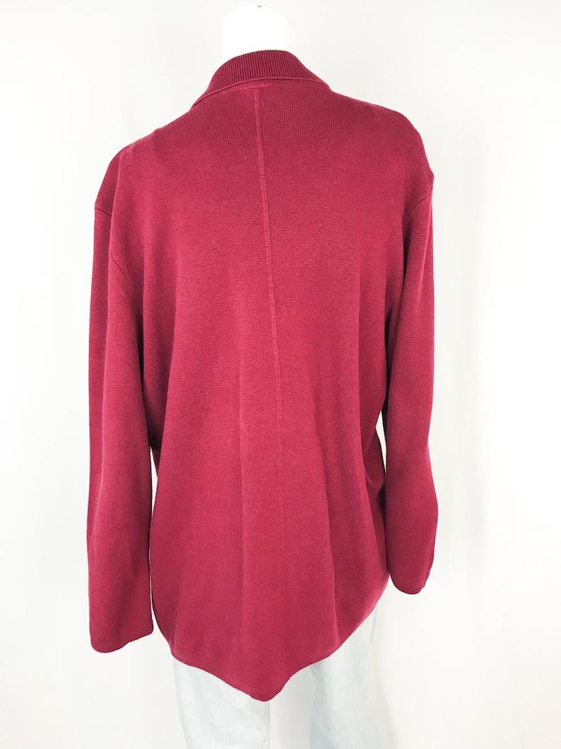 90s Button Up Blazer Cardigan Vintage Burgundy Sweater-Jacket Medium