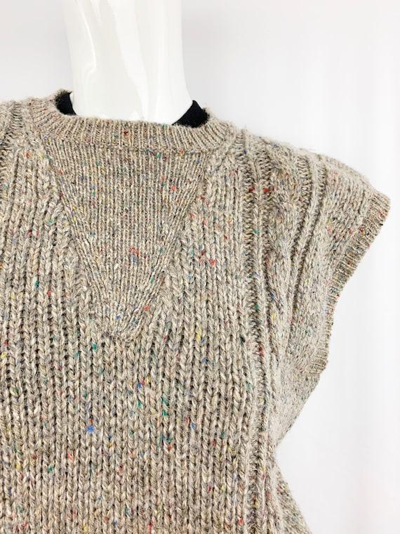 Vintage Speckled Sweater Vest || Slouchy Knit Ves… - image 2