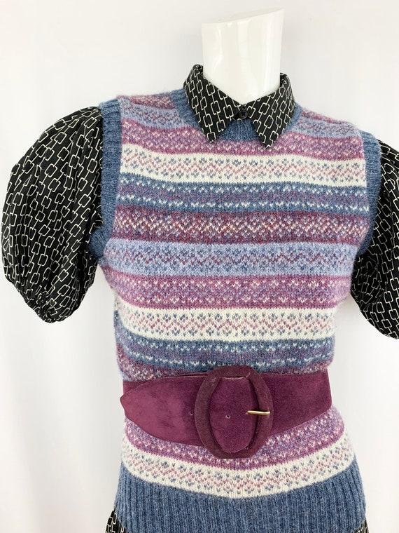 80s Vintage Sweater Vest || Shetland Wool Pattern… - image 8