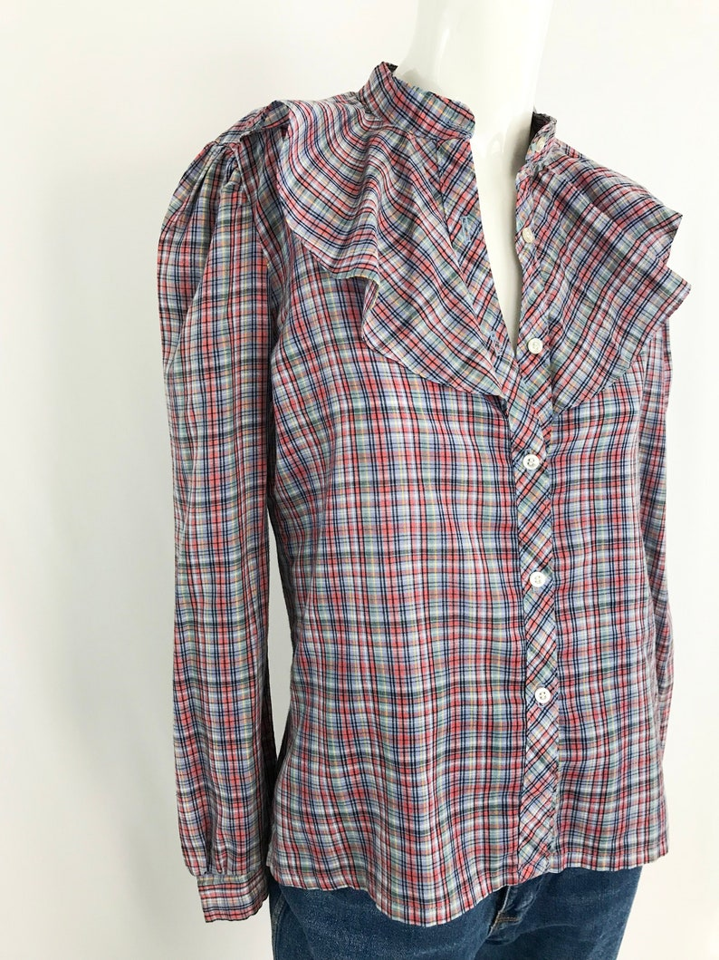 Medium 1970s Plaid Ruffle Shirt Vintage Long Sleeve Button Up Blouse