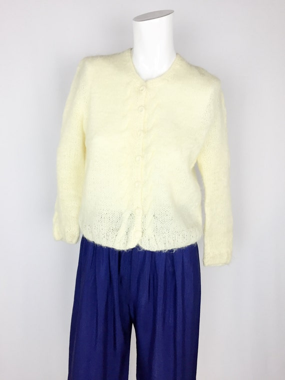 Vintage Handmade Mohair Sweater || 1950's Yellow C